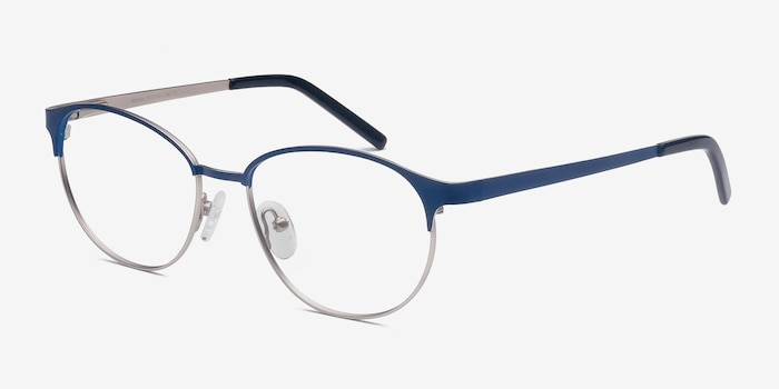 Mamba Navy Silver Metal Eyeglass Frames from EyeBuyDirect, Angle View