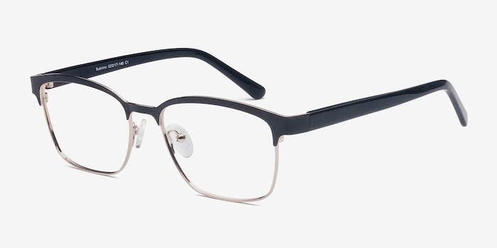 Sublime  Black Golden  Metal Eyeglass Frames from EyeBuyDirect, Angle View