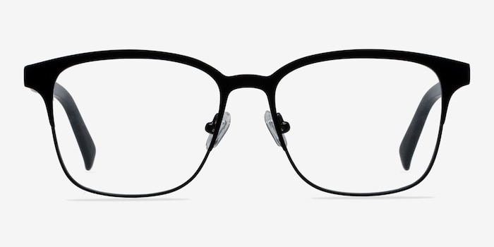 Intense Matte Black Metal Eyeglass Frames from EyeBuyDirect, Front View