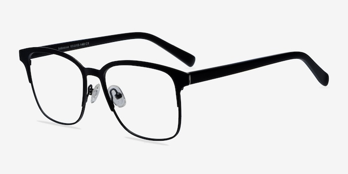 Intense Matte Black Metal Eyeglass Frames from EyeBuyDirect, Angle View