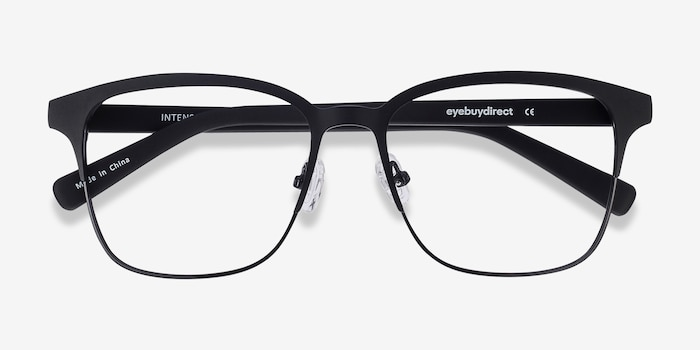 Intense Matte Black Metal Eyeglass Frames from EyeBuyDirect, Closed View