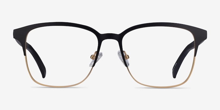 Intense Matte Black/Golden  Metal Eyeglass Frames from EyeBuyDirect, Front View
