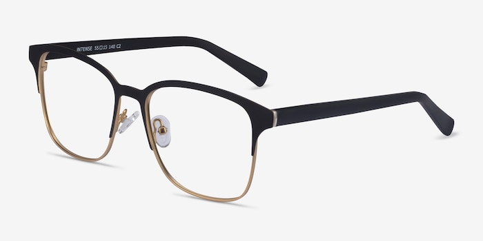 Intense Matte Black/Golden  Metal Eyeglass Frames from EyeBuyDirect, Angle View