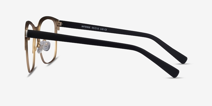 Intense Matte Black/Golden  Metal Eyeglass Frames from EyeBuyDirect, Side View