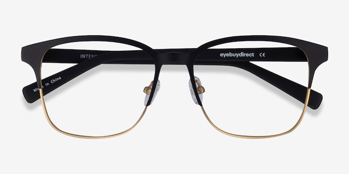 Intense Matte Black/Golden  Metal Eyeglass Frames from EyeBuyDirect, Closed View
