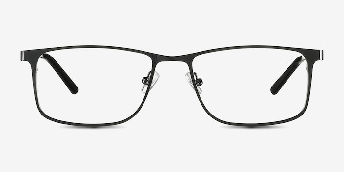Clinton  Dark Gunmetal  Metal Eyeglass Frames from EyeBuyDirect, Front View