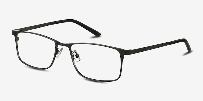 Clinton  Dark Gunmetal  Metal Eyeglass Frames from EyeBuyDirect, Angle View