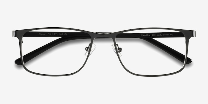 Clinton  Dark Gunmetal  Metal Eyeglass Frames from EyeBuyDirect, Closed View
