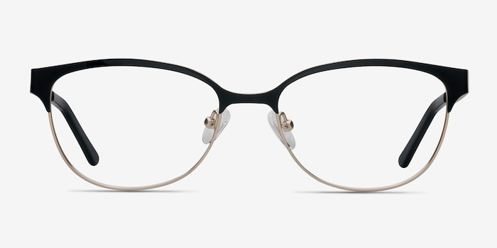 Sapphire Black Golden Metal Eyeglass Frames from EyeBuyDirect, Front View