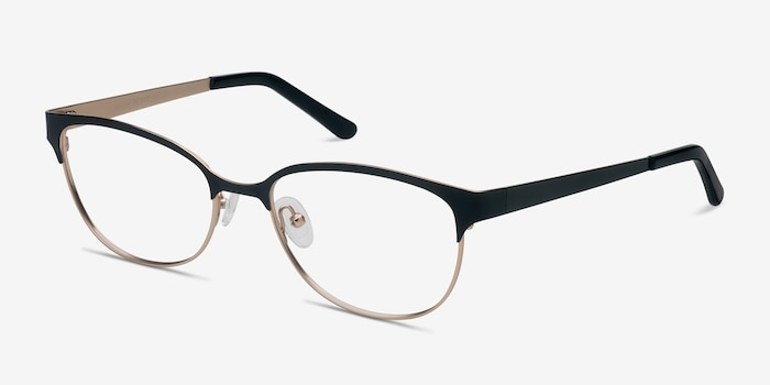 Sapphire Black Golden Metal Eyeglass Frames from EyeBuyDirect, Angle View