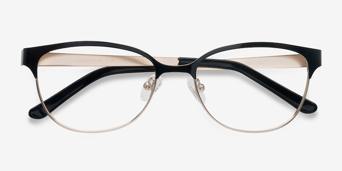 Sapphire Black Golden Metal Eyeglass Frames from EyeBuyDirect, Closed View