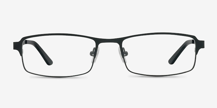 Thomas Matte Black Metal Eyeglass Frames from EyeBuyDirect, Front View