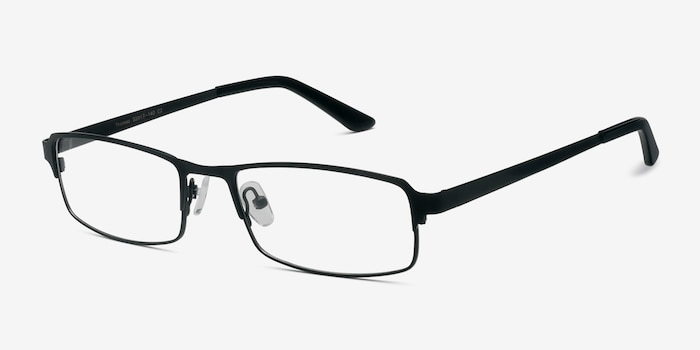 Thomas Matte Black Metal Eyeglass Frames from EyeBuyDirect, Angle View
