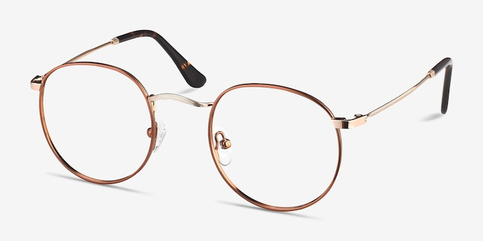 Daydream Brown Golden Metal Eyeglass Frames from EyeBuyDirect, Angle View