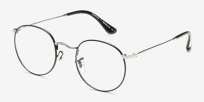 Daydream Black Silver Métal Montures de Lunette de vue d'EyeBuyDirect, Vue d'Angle