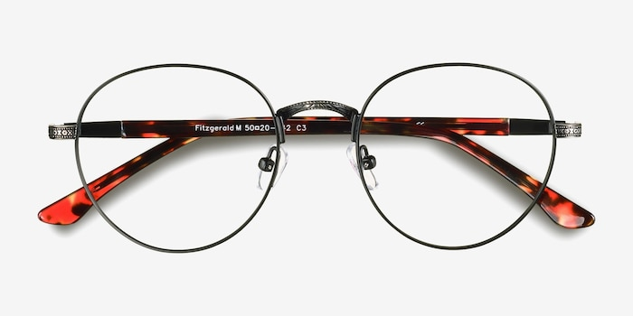 Fitzgerald Black & Gunmetal Metal Eyeglass Frames from EyeBuyDirect, Closed View