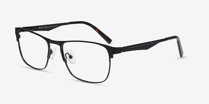 Bethnal Green Black Metal Eyeglass Frames from EyeBuyDirect, Angle View
