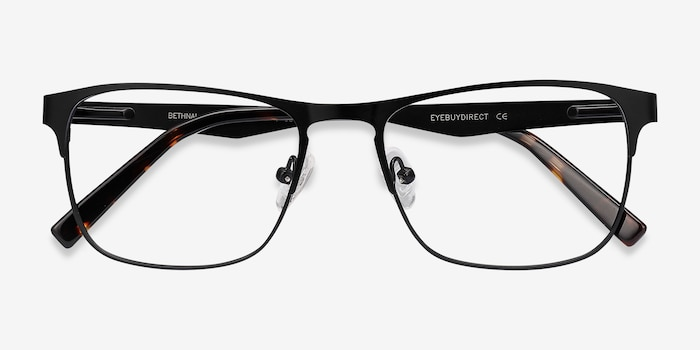 Bethnal Green Black Metal Eyeglass Frames from EyeBuyDirect, Closed View