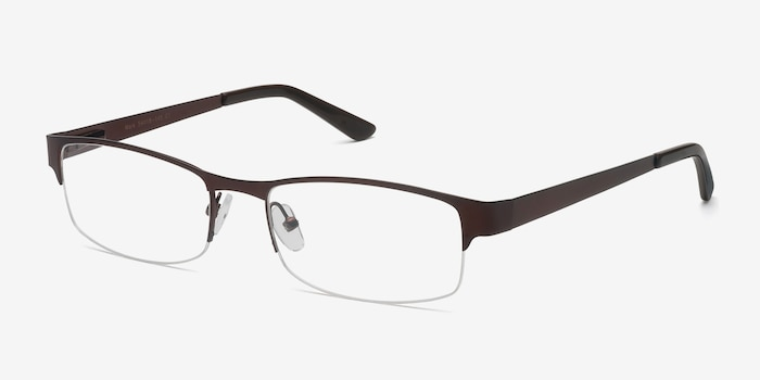 Mark Coffee Metal Eyeglass Frames from EyeBuyDirect, Angle View