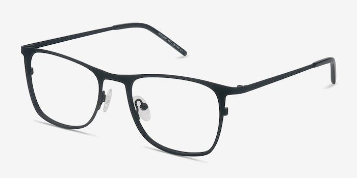 Whisper Matte Black Metal Eyeglass Frames from EyeBuyDirect, Angle View