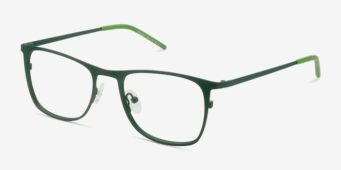 Whisper Matte Green Metal Eyeglass Frames from EyeBuyDirect, Angle View