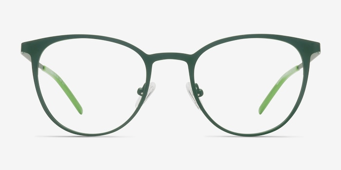 Reunion Matte Green Metal Eyeglass Frames from EyeBuyDirect, Front View