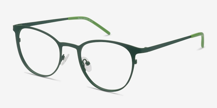 Reunion Matte Green Metal Eyeglass Frames from EyeBuyDirect, Angle View