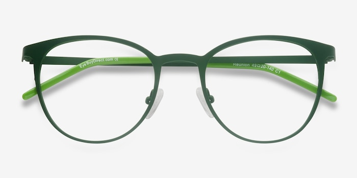 Reunion Matte Green Metal Eyeglass Frames from EyeBuyDirect, Closed View