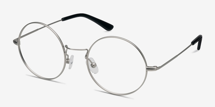 Someday Silver Metal Eyeglass Frames from EyeBuyDirect, Angle View