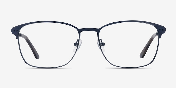 Arcadian Navy Metal Eyeglass Frames from EyeBuyDirect, Front View