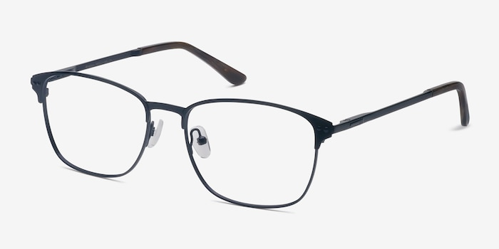 Arcadian Navy Metal Eyeglass Frames from EyeBuyDirect, Angle View