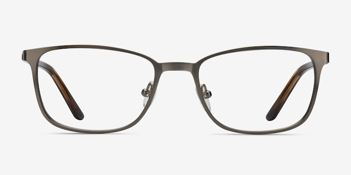 Lines Gunmetal Metal Eyeglass Frames from EyeBuyDirect, Front View