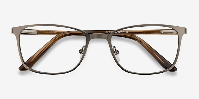Lines Gunmetal Metal Eyeglass Frames from EyeBuyDirect, Closed View