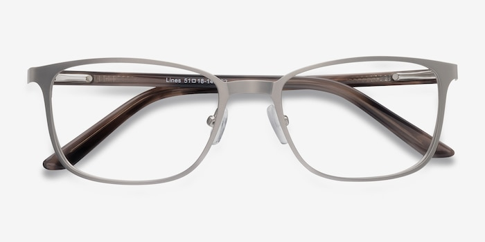 Lines Silver Metal Eyeglass Frames from EyeBuyDirect, Closed View