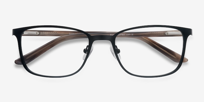 Lines Black Metal Eyeglass Frames from EyeBuyDirect, Closed View