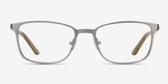 Lines Light Gunmetal Metal Eyeglass Frames from EyeBuyDirect, Front View