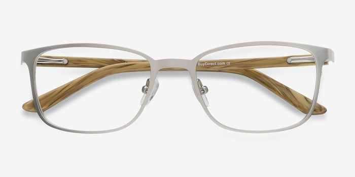 Lines Light Gunmetal Metal Eyeglass Frames from EyeBuyDirect, Closed View