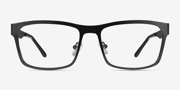 Assumption Black Metal Eyeglass Frames from EyeBuyDirect, Front View
