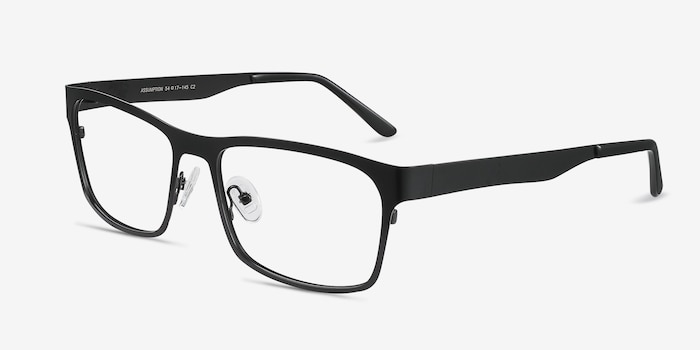 Assumption Black Metal Eyeglass Frames from EyeBuyDirect, Angle View