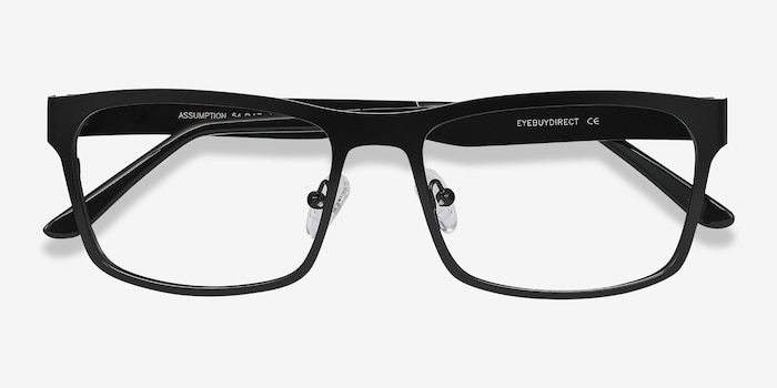Assumption Black Metal Eyeglass Frames from EyeBuyDirect, Closed View
