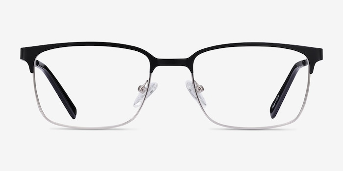 Manchester Black Silver Metal Eyeglass Frames from EyeBuyDirect, Front View