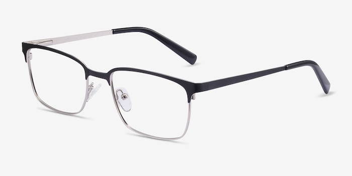 Manchester Black Silver Metal Eyeglass Frames from EyeBuyDirect, Angle View