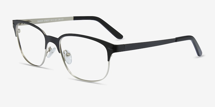 Baker Street Black Silver Metal Eyeglass Frames from EyeBuyDirect, Angle View
