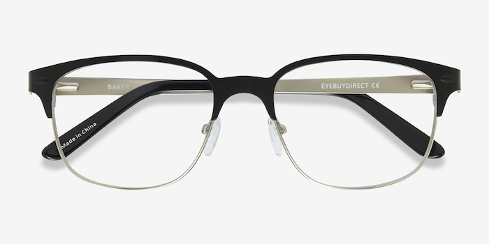 Baker Street Black Silver Metal Eyeglass Frames from EyeBuyDirect, Closed View