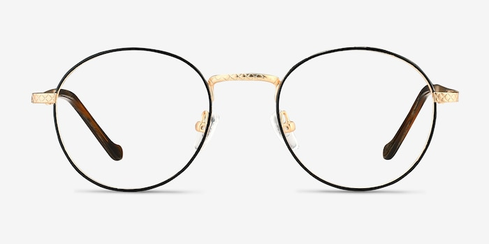 Mingus Black Golden Metal Eyeglass Frames from EyeBuyDirect, Front View