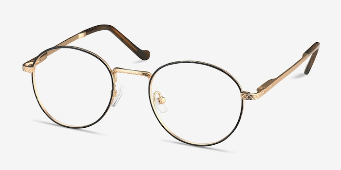 Mingus Black Golden Metal Eyeglass Frames from EyeBuyDirect, Angle View