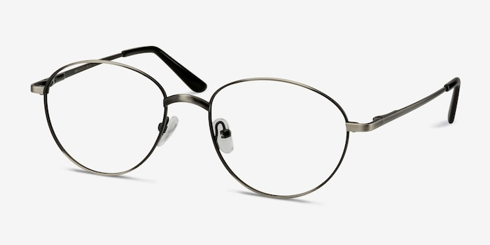 Nara Gunmetal Metal Eyeglass Frames from EyeBuyDirect, Angle View