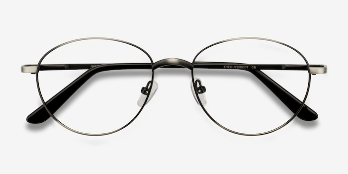 Nara Gunmetal Metal Eyeglass Frames from EyeBuyDirect, Closed View