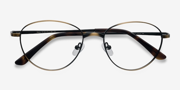 Nara Bronze Metal Eyeglass Frames from EyeBuyDirect, Closed View