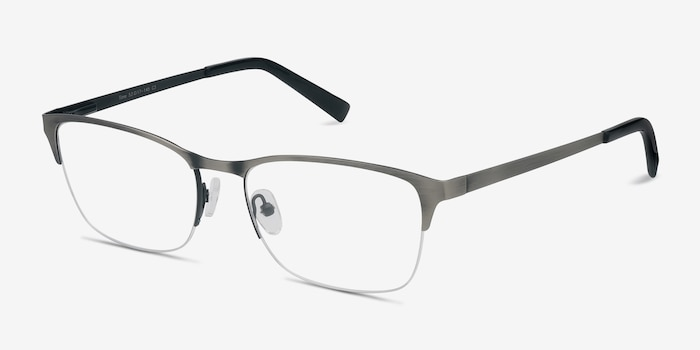 Time Matte Silver Metal Eyeglass Frames from EyeBuyDirect, Angle View
